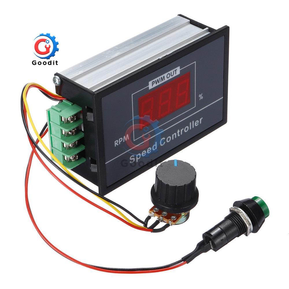 Regolatore di Velocit/à Regolabile DC con Display Digitale Controllo Velocit/à Motore PWM con Interruttore DC 6V-60V