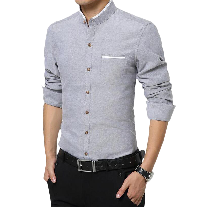 Hot sale fashion casual high quality men shirt long sleeve for Mens high collar dress shirts