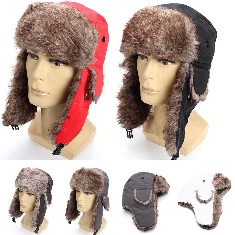 660cda3ee54068 Men Women Winter Hat Trapper Trooper Earflap Warm Russian Ski Hat Fur Ushanka  Hat New