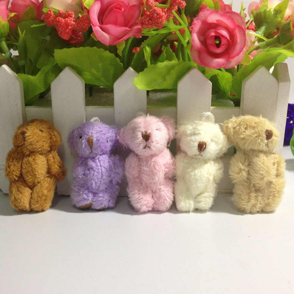 10pc 5colors 4.5cm Mini Joint Teddy Bear Plush Stuffed Wedding BOX Toy Doll Garment & Hair Accessories Decor Doll