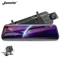 Jansite 10 Dash cam Touch screen 1080P Stream Rear View Mirror car cameras DVR Cycle Recording Night Vision Dual Lens G sensor