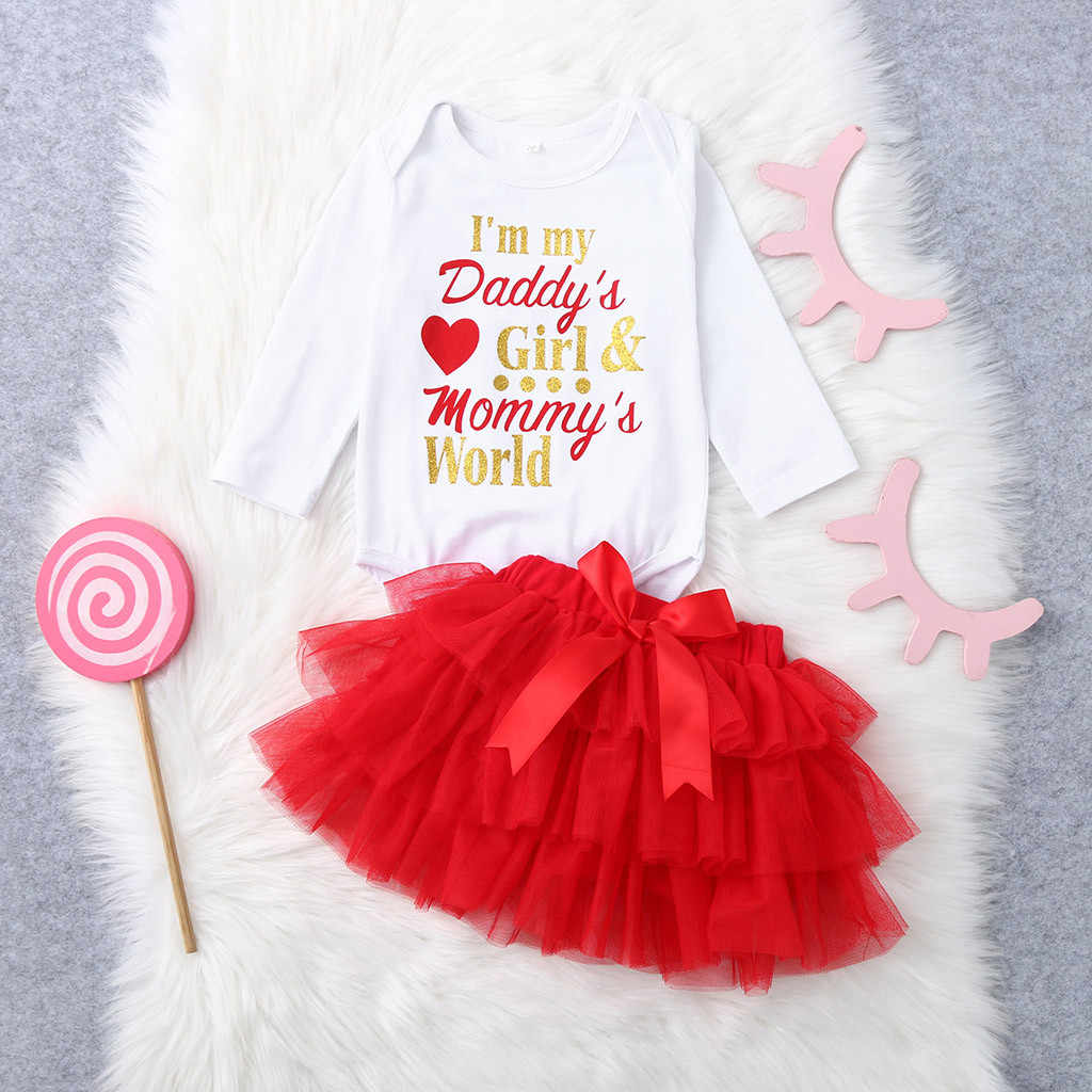 31a37368e51 MUQGEW newborn baby boys clothes set winter Newborn Infant Baby Girl Letter  Romper+Tutu Tulle