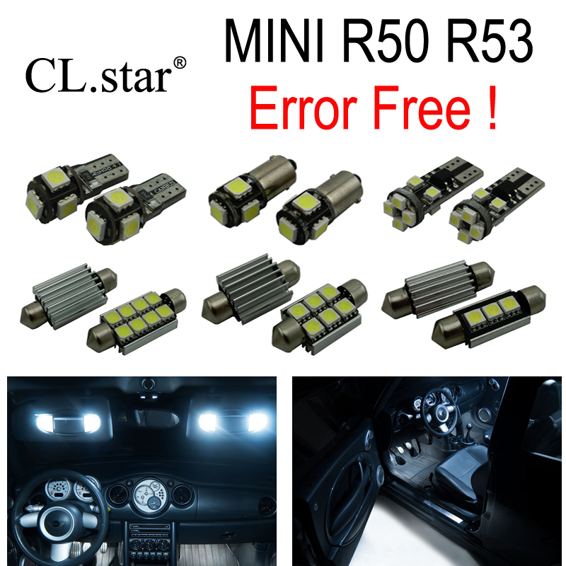 16pcs LED License plate bulb + Interior dome map reading Light Kit Package For MINI Cooper R50 R53 (2001-2006)