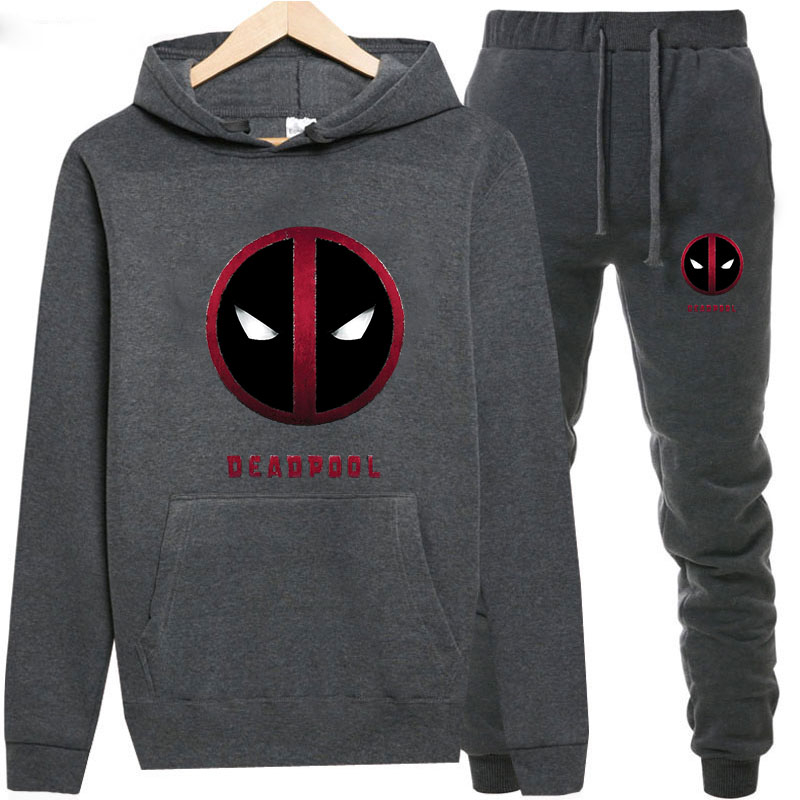 Sweatshirts+Sweatpants Suits Deadpool Print Hoodie Men/Women Pant Hoodies Spring Autumn Warm Fleece Hooded Pullover Outdoor