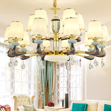 Italian style LED ceramic Chandelier lights luxury drop lights creative zinc alloy living room bedroom crystal Chandelier lamps цена