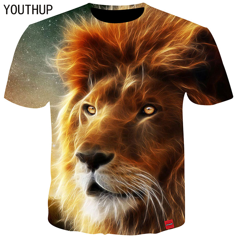 YOUTHUP 2018 Men T Shirt 3D Print Lion Tee Shirt Homme O Neck Short Sleeve T Shirt Summer Tops Hip Hop Fitness Tshirts Plus Size in T Shirts from Men 39 s Clothing