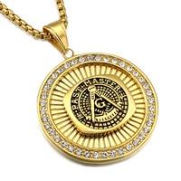 Hip Hop Rock Gold Plated Titanium Stainless Steel Bling Iced Out Masonic Mason Freemasonry Pendant Necklaces