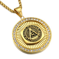 Hip Hop Rock Gold Plated Titanium Stainless Steel Bling Iced Out Masonic Mason Freemasonry Pendant Necklaces