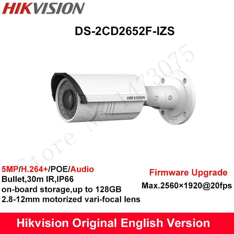 In Stock Hikvision English Security Camera DS-2CD2652F-IZS 5MP Bullet IP CCTV Camera POE vari-focal 2.8-12mm Mortorized lens