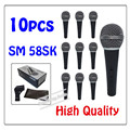 10pcs wholesale High quality SM 58SK Free shipping vocal Karaoke microfone dynamic wired handheld microphone SM 58