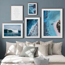 Mer vague plage plante paysage citation mur Art toile peinture nordique affiches et impressions mur photos pour salon décor à la maison