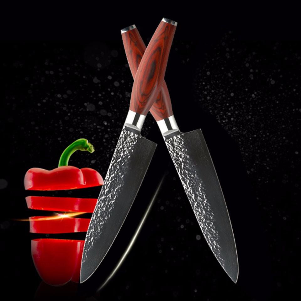 Damascus Steel & Wood Knife