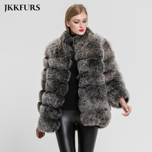 2019 New Womens Thick Fox Fur Coats Pocket Winter Warm Outwear Fashion Real Genuine Top Quality Crop Jacket S7363