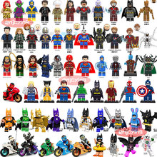 Marvell Super Heroes Figures Batman Spiderman Ninjago Iron Man Hulk Compatible with LEGOing Building Blocks Toys for Children(China)
