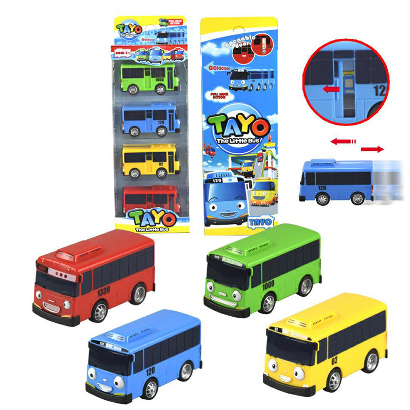 4pcs/1lot Korean Tayo The Little Bus Vehide Mini Bus Garage Car Toys Model Mini Plastic Tayo Bus Baby For Kids Brinquedo