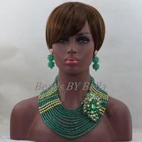 Fabulous Teal Green Nigerian Wedding African Costume Jewelry Set 18K Gold Plated Dubai Bridesmaid Jewelry Free