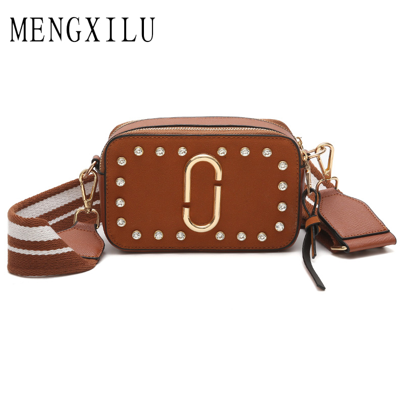 MENGXILU High Quality PU Leather Women Crossbody Bags Fashion Color Rivet Design Women Shoulder Bags Color Shoulder Strap Ladies