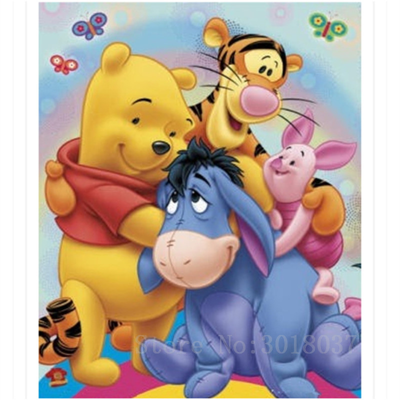 Diamant Diy Pintura Diamante Ponto Cruz Urso & Tiger & Its Friends Needlework Diamante Bordado Kits Completos De Diamante Decorativos