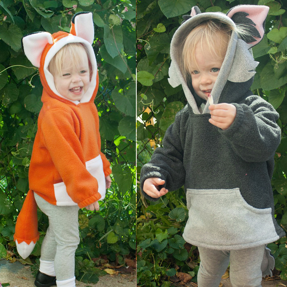 Baby Coat Kids Toddlers Cute Fox Warm Cotton Long Sleeve Spring Tops Clothes Hoodie Fleece Coat with Tail