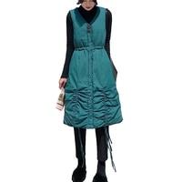 Women winter long vest V neck single breasted button sleeveless waistcoat M XXL black blue drop shipping