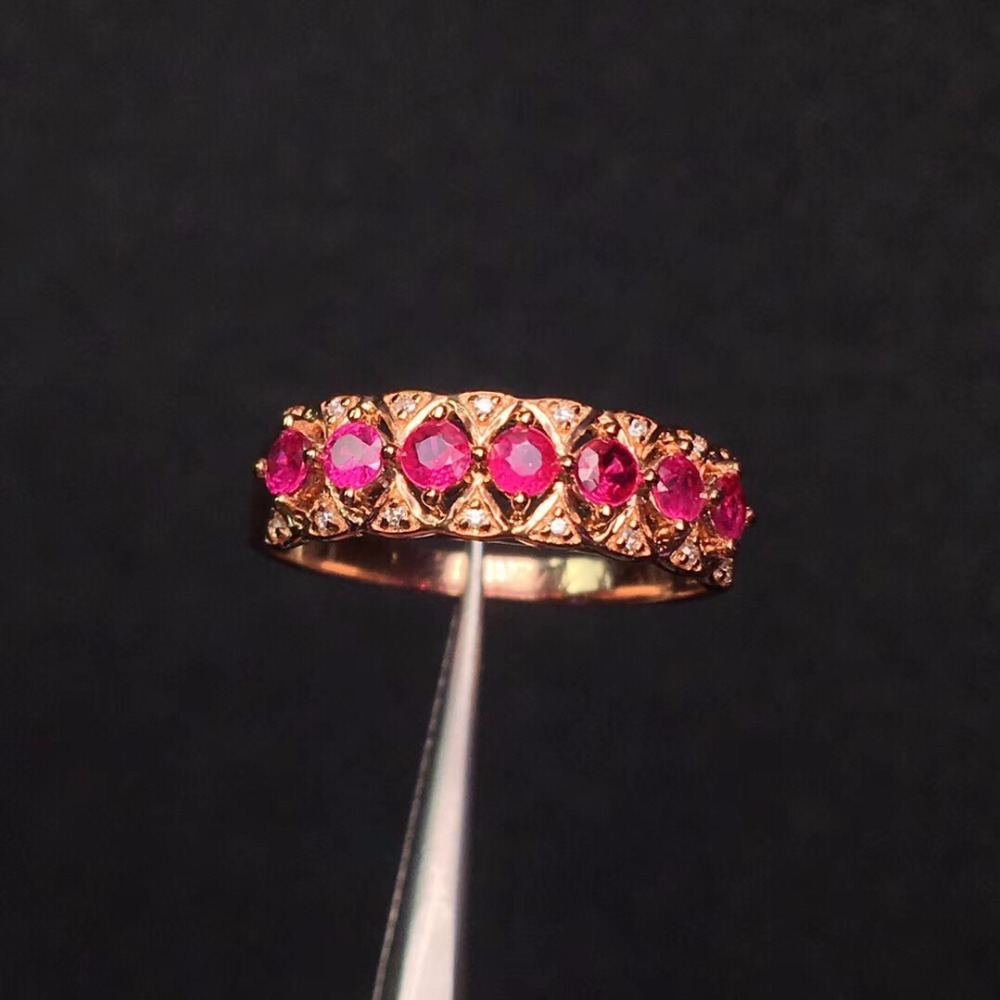 Bijoux fins 18 K or Rose véritable Pigeon naturel sang rouge rubis diamant de mariage bagues de fiançailles pour femmes bague Fine