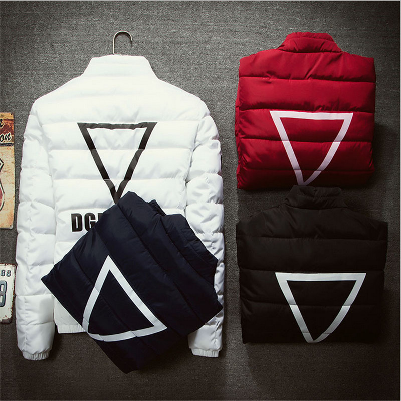 ФОТО 2015 New Winter Lovers Cotton Men's Fashion Solid Color Slim Down Solid Triangular Pattern Personality Male Coat