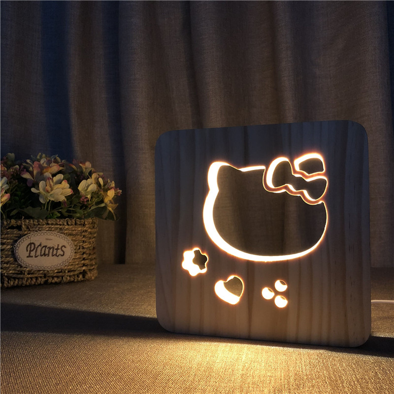 Hello LED Wood Night Light Kitty Cat 3D Illusion Luminaria Baby Lamp Gifts  For Kids Birthday Chambre Bebe Lamp Decor Drop Ship