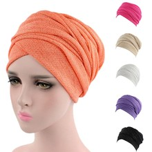 New Plain Hats NEW HOT Fashion Women India Africa Muslim Stretch Turban Hat Head Scarf Wrap Cap Hot Sell A415
