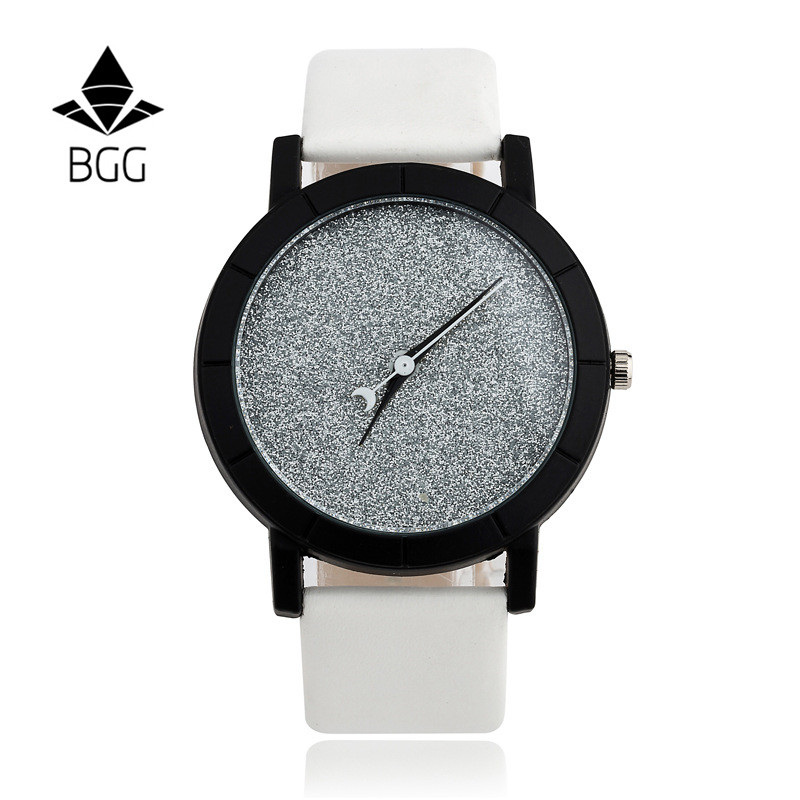 Ladies Casual Watch fashion Rhinestone Women Dress Watch Lovers' Leather Quartz Wristwatch Cute Moon Stars Design clock hours 9