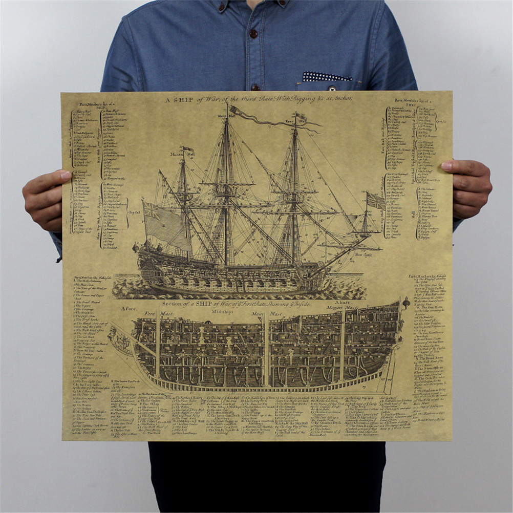 Great Maritime Era Ancient Warship Design Drawings Vintage Posters Kraft Paper Posters Wall Stickers Mural Decoration