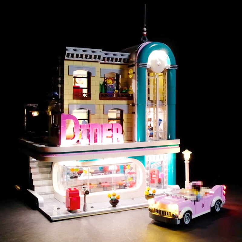 Led Light For Lego 10260 Building Block Creator City Street Streetview Downtown Diner Compatible 15037 ( light with Battery box) real picture kids evening gown luxury flower girl dresses for wedding long trailing princess dress ball gown beading dress