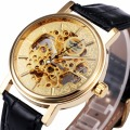 WINNER Unisex Women Gorgeous Business Mechanical Wrist Watch Leather Strap Skeleton Movement Automatic-self-wind
