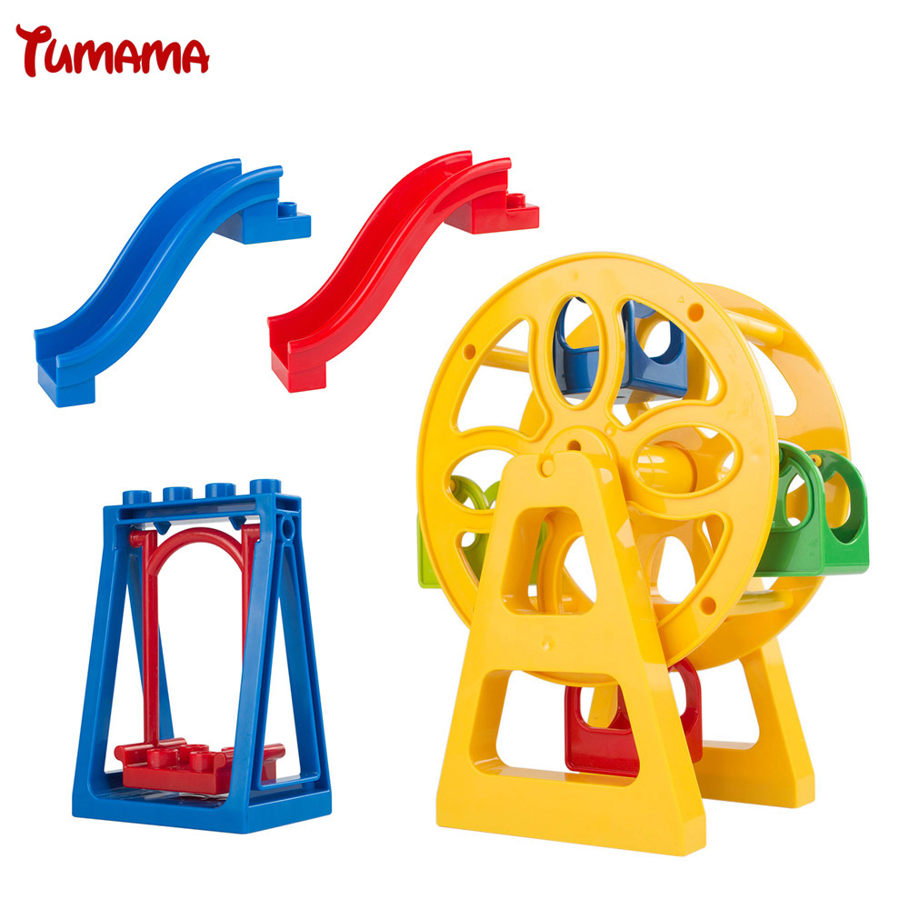 Amusement Park Large Particle Building Blocks toys Swing Ferris Wheel Slide Assemble Brick Toys Compatible with Duplo Brinquedos kid s home toys large particles happy farm animals paradise model building blocks large size diy brick toy compatible with duplo