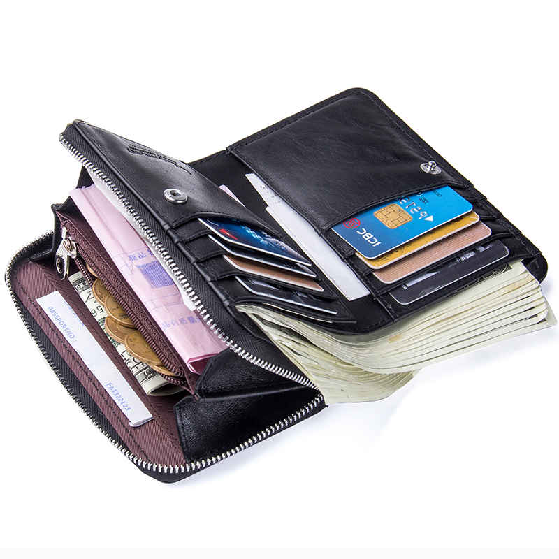Image 4 - Contacts Genuine Leather Women Wallets 2020 New Female Short Zipper Purses Sheepskin Wallet Card Holder With Coin PocketsWallets   -