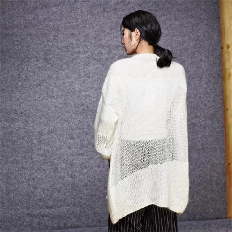 Angepasst Lange Damenmode 100Handarbeit V Woolen Schwarz Ausschnitt Lose Feste Cardigan Strick Farbe 5 Strickjacke g7IbvfY6y