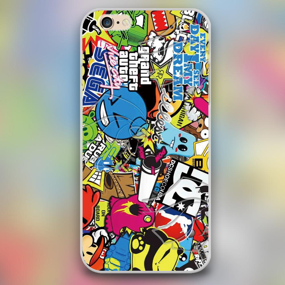Calcomanias sticker boom vinil extura design case cover cell phone cases for apple iphone 4 4s 5 5c 5s 6 6s 6plus hard shell