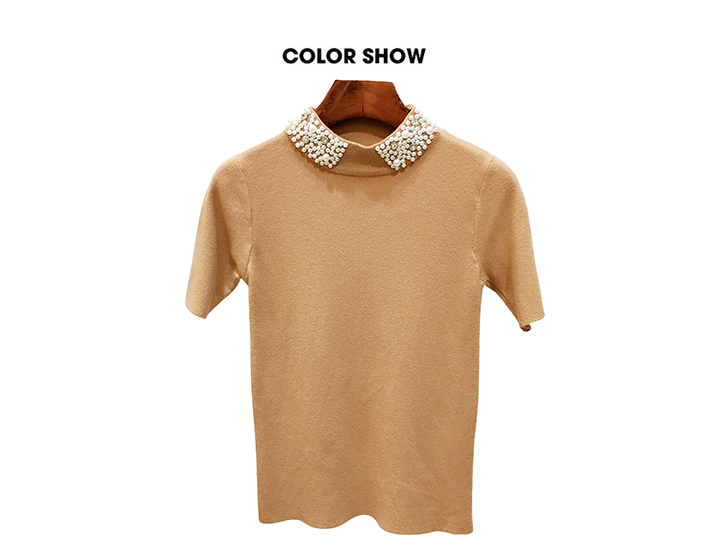 ALPHALMODA 18 Summer Ladies Short-sleeved Pearl Collar Pullovers Casual Slim Knit Sweater Women Studded Fashion Jumpers 36