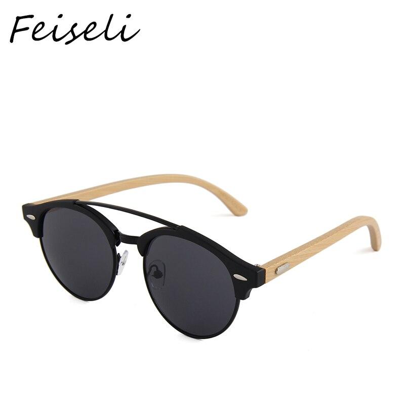 Feiseli бамбук храма солнцезащитные очки Для мужчин Для женщин солнцезащитные очки дизайнер Ретро Винтаж деревянные очки