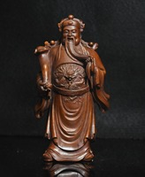 Crafts statue 6 Chinese Folk collect Boxwood wood Stand Dragon Mammon wealth Money God Statue