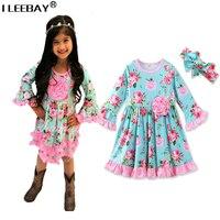 Lolita Phong Cách Floral Hoàng Tử Ăn Mặc cho Bé Gái Đầy Bùng Tay Áo Dễ Thương Sundress với Headband Toddler Flower Costume Robe Fille