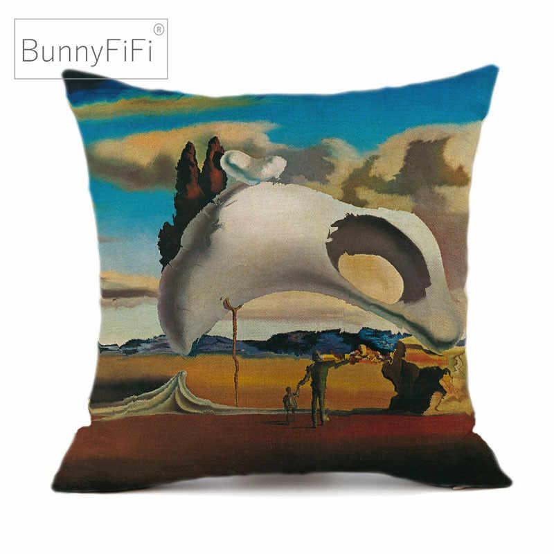 Salvador Dali Arte Surreal 45x45 centímetros Decorativa Cotton Linen Capa de Almofada Fronha Para Sofá Cadeira Casa Decoração almofada