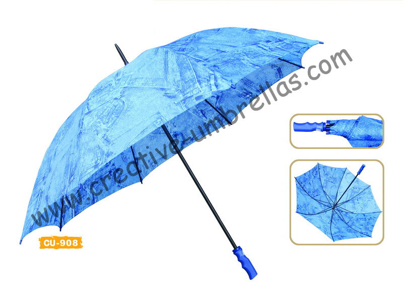 Free shipping by sea,190T polyester printed jean fabric 14mm metal shaft and ribs,hand open advertising golf umbrella,windproof