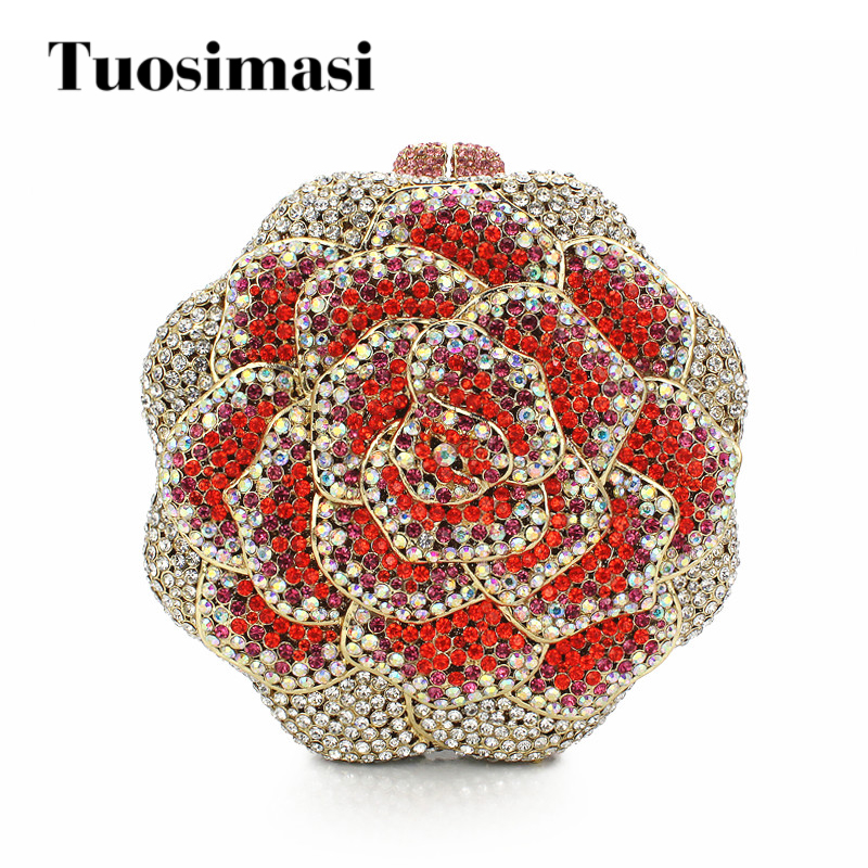 Luxury Shiny HandBags Crystal Rose Clutch Bag Glitter Ladies Wedding Bags Evening Bags For Women Party Red Purse Handbags Bags цена