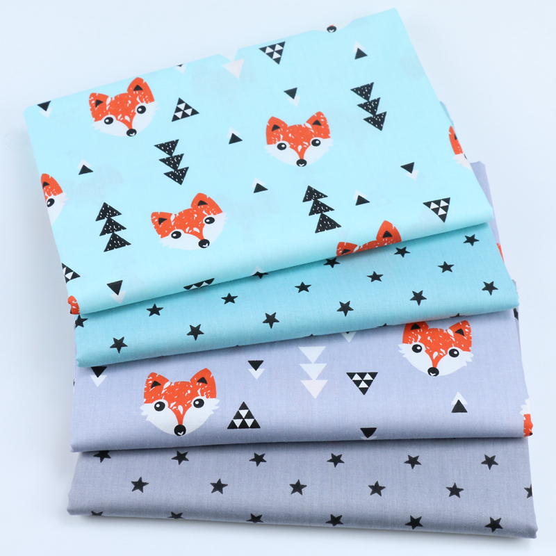 100% cotton twill nordic wind cartoon orange fox trees grey star fabric for DIY crib bedding cushion apparel handwork home decor