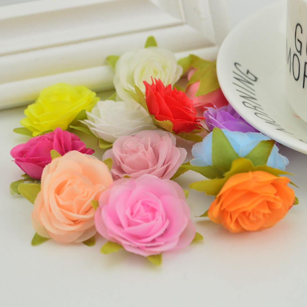 5pcs silk MINI rose heads for home wedding car decoration Skirt hat Beach flower diy handmade Candy gift box Artificial flowers