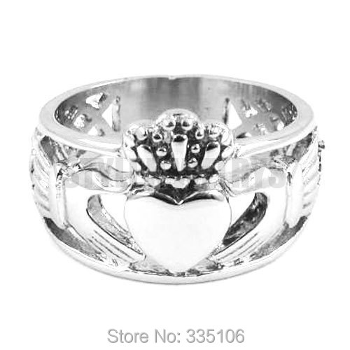 Wholesale Claddagh Style Hand to Hold a Heart with Crown Ring Stainless Steel Jewelry Celtic Knot Biker Women Ring SWR0308A