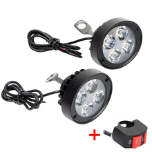 2Pcs Motorcycle Headlight with Switch DC 12V-85V 4 LEDs Moto Headlamp Spotlight Assist Lamp Motorcycle Accessories Super Bright