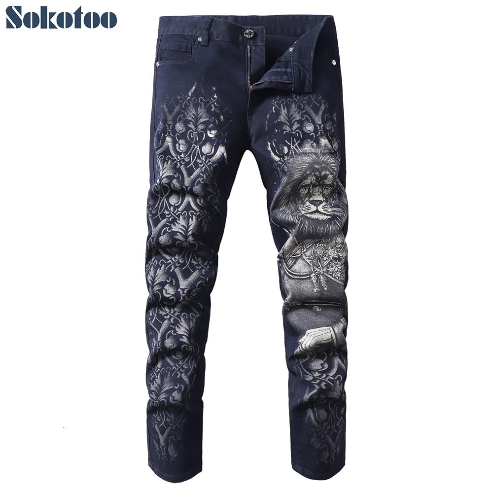 Sokotoo Men's Fashion Lion Printed Jeans Slim Fit Black Blue Straight Stretch Denim Pants