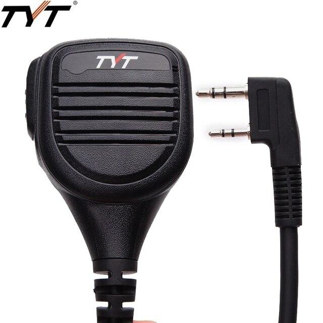 TYT MD 380 2 פין PTT מרחוק אטים לגשם כתף רמקול מיקרופון עבור TYT MD 380 MD 390 TH UV8000D/E ווקי טוקי MD 380G רדיו חם