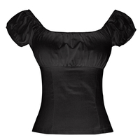 Woman Rockabilly Design S 7XL Plus Size Shirt Off Shoulder Ruffled Sexy Black White Blouse Low Back Peasant Pin Up Female Tops